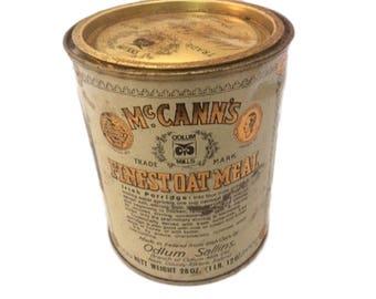 Vintage Kitchen Decor - Kitschy - John McCanns Steel Cut Irish Oatmeal Tin Can - Ireland - Retro Farmhouse Decor