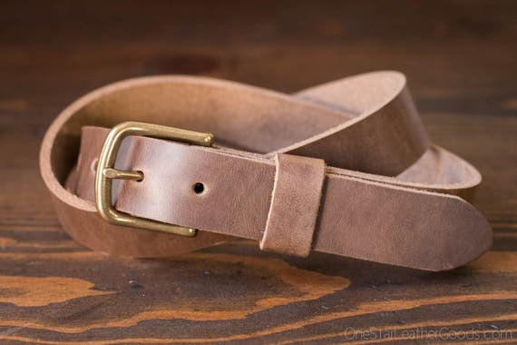 "Custom sized belt - 1.25"" width - Horween Chromexcel leather - heel bar buckle - natural chromexcel"
