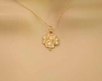 Solid 14K Gold Flower Pendant/ Solid Gold Charm Necklace/ Free Shipping