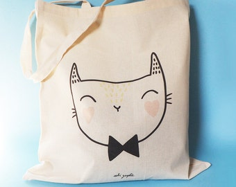 "Tote Bag ""Cat Bow tie"""