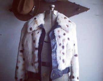 Vintage Cropped Rabbit Fur Bomber Jacket