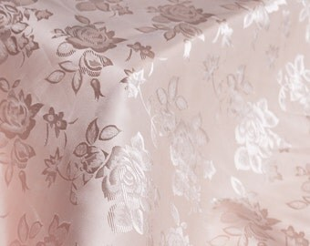 Pink Floral Jacquard Brocade Satin Fabric By the Yard Style 3006