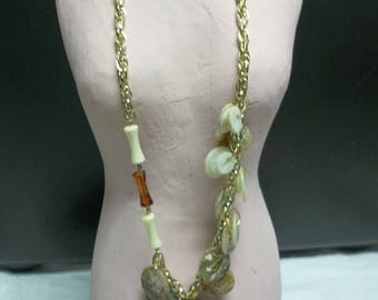 1/2 OFF!!! Vintage Asymmetrical Vintage Shell Button Necklace on Vintage Chain, 317S