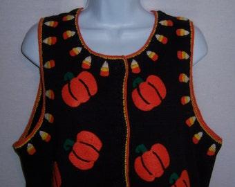 Vintage Michael Simon Black Orange Yellow Pumpkins Candy Corn Halloween Cardigan Sweater Vest Large Jack O Lanterns Sleeveless