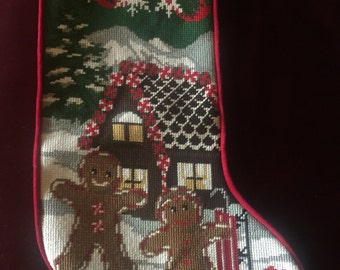 Country Rustic Christmas Needlepoint Stocking
