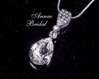 "Crystal teardrop pendant necklace, Bridal jewelry, wedding necklace, ""Paris by Moonlight"" necklace"