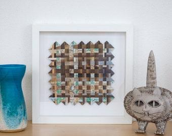 Framed wall art, abstract art, paper weaving art, original artwork, square art, mixed media art, woven paper art. SFW006