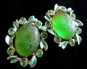 Green Frosted Glass Rhinestone Earrings, signed STAR, Enamel, Screw/Clip-on, Vintage