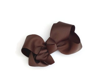 "4"" Brown Boutique Hair Bow"