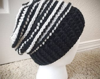Black & White Striped Slouchy Hat