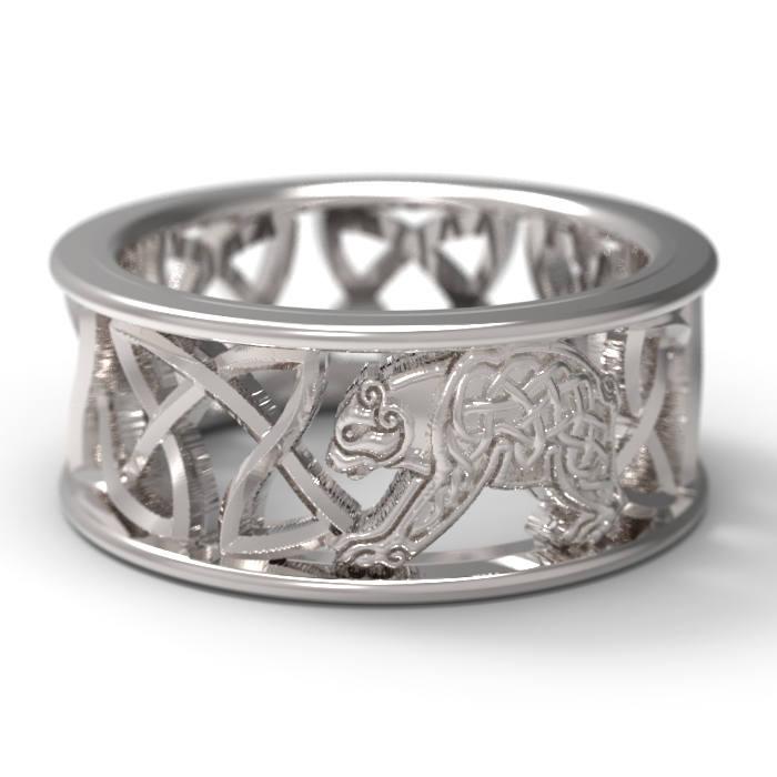 Celtic Bear Wedding Band, Celtic Bear Ring, Mens Wedding