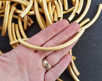 Large Lightweight Necklace Curve Tube Textured Tube Bead Spacer - 22k Matte Gold Plated - 1 pc