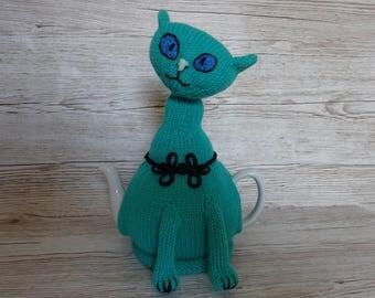 Knitted Tea Cosy Cozy Cosie, Green Ornamental Siamese Cat Shabby Chic