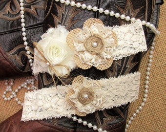 Rustic Country Chic Burlap Wedding Garter Set,Rustic Keepsake & Toss Wedding Garter Set,Wedding Garters