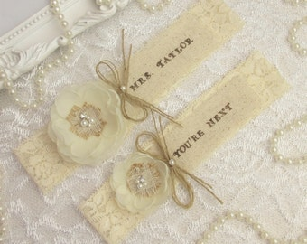 Country Chic Wedding Garter Set,Rustic Keepsake & Toss Wedding Garter Set,Wedding Garters