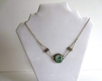 Vintage Green Carved Jade Necklace