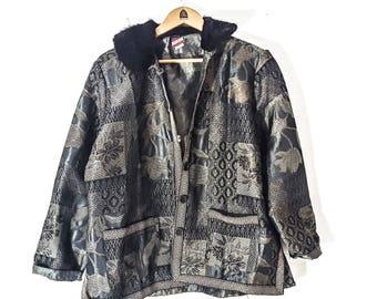 JACKET KIMONO Jacket VINTAGE Jacket Womens Jackets Jacket Women Jacket Vintage Fur Coat Ethnic Ethnic Clothing Coat Oriental Asian Silk xl
