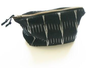 Black Ikat Dash Large  Zipper Pouch- Cosmetic Bag- Jewelry Clutch