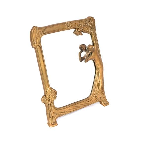 Vintage brass free standing mirror ornate gold mirror art for Gold standing mirror