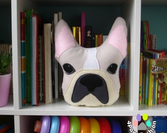 BENTLEY French Bulldog art pillow cream Frenchie stuffed toy OOAK/ 4PawsFashion
