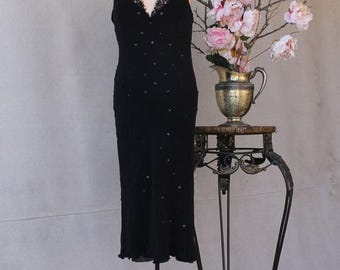 FABULOUS 50% Off SALE 90's Black Silk Sequin Beaded Spaghetti Strap Lace Bust Dress Gatsby Style by Hugo Buscati Collection size 12
