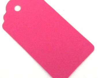 20 Medium Bright Pink Gift Tags  - Wedding Favor Tag 67mm x 35mm (100% Recycled Card)