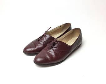 7 Oxford shoes, leather flats, leather shoes, brown leather shoes, women's oxford, tie shoes,  oxblood shoes, Lace up shoes,  vintage shoes