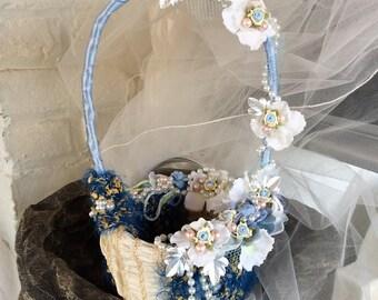 Wedding Basket-Flower Basket-Flower Girl-Fabric Basket-Blue/Ivory/Pink-Girls Basket For Wedding-Cinderella Wedding-Theme Wedding-Disney