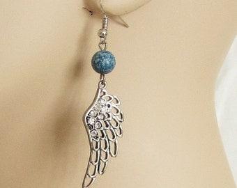 Earrings, wings, rhinestone, blue bead, dangle, jewelry, C, handmade