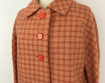 Mod coat 1960s peach tweed jacket swing cut overcoat wool 3/4 UK 12 14 60s scooter girl GoGo