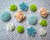 Fridge Magnet Set, 12 pc Flower Magnets, Peach, Lime Green, Aqua, White, Small Gift,  Housewarming Gifts, Hostess Gifts, Wedding Favors