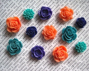 Pretty Magnets, 12 pc Flower Magnets, Teal, Purple and Coral, Kitchen Decor, Housewarming Gifts, Wedding Favor, Locker Magnets, Office Decor