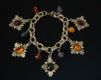 Lovely Vintage Double Link Charm Bracelet Antique Finish Light Gold Tone w/Amber Orange Purple Amethyst Black Glass Beads Nice Quality Piece