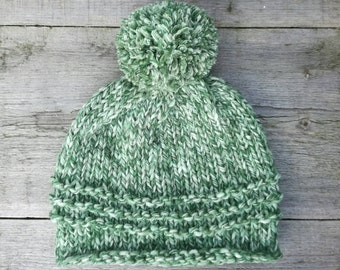Chunky knitted marble green beanie with pompom