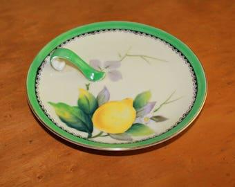 Vintage Mid Century Noritake Hand Painted Green Lustreware Porcelain China Lemon Dish