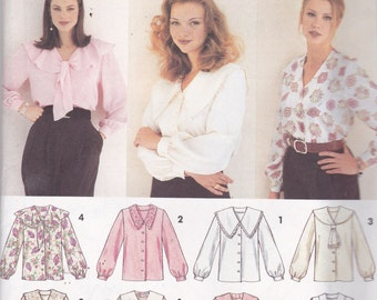 Simplicity 8620 Vintage Pattern Womens Button Up Top in 4 Variations Size 12,14,16 UNCUT