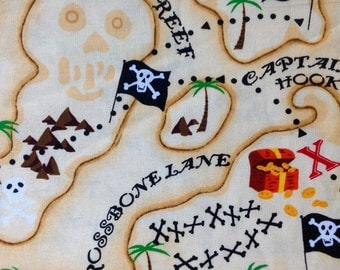 Pirates Map by Hi-Fashion Fabrics/Quilting Sewing Craft Fabric/Buried Treasure Chest/X Marks the Spot/Pirate Booty/HALF Yard Pricing