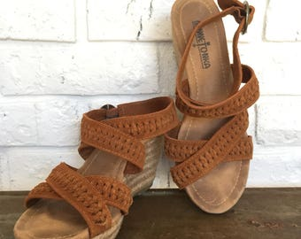 Vintage Minnetonka Leather Wedge Espadrilles, size 6.5