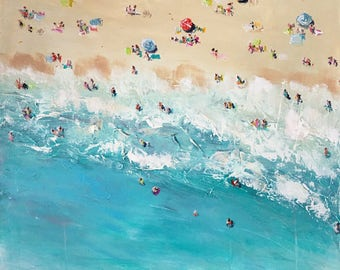"Original painting - Surf's Up Dude"" 24x24 with acrylic paint and brush landscape, seascape, cityscape, aqua, gray, blue, pink"