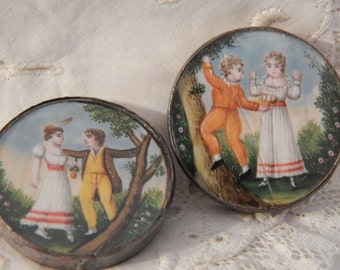 18th Century HandPainted Buttons of Children - Settings are Silver
