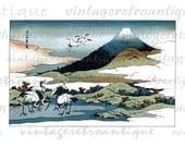 Digital Image Japanese Birds Graphic Download Color Illustration Printable Vintage Clip Art for Transfers Printing etc HQ 300dpi No.2227