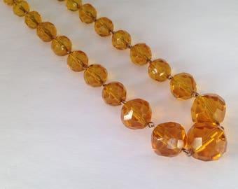 Vintage Art Deco Era Tangerine Faceted Glass Bead Necklace.