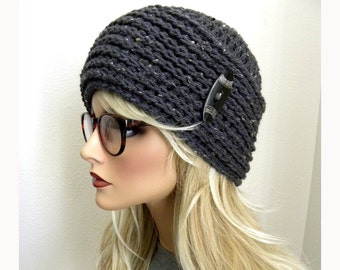 Gray Beanie Hat, Gray Tweed Beanie, Beanie with Button, Winter Cap, Woman's Hat, Hat for Teen, Clouch Hat, Warm Hat, Gray Hat,