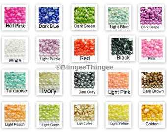 1000 2mm CHOOSE COLOR Flatback Faux Half Round Pearls Embellishments ss6 Kawaii Decoration Nail Art Supplies 20 Colors to Choose From