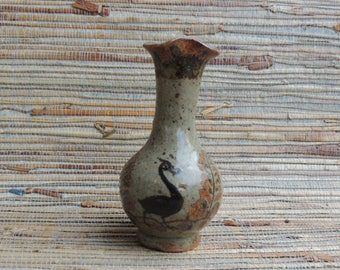 Sweet Little Mexican Vase With Bird And Ferns Gray & Brown Fluted Top
