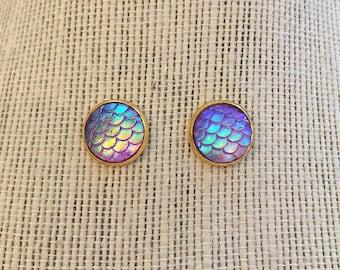 10mm Gold Metallic Ombre Purple Mermaid Skin Stud Earrings
