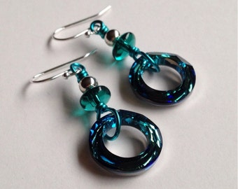 Teal Crystal Earrings