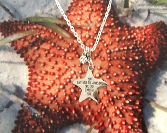 Inspirational Beach Stainless Steel Starfish Necklace - You can't stop the waves but you can learn to surf laser engraved charm