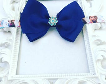 Girl's Royal Blue Custom Hair Bows, Custom Royal Blue Hairbands, Blue Hair Bands For Girls, Kids Custom Blue Hair Bows