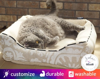 Custom Cat Bed - Design Your Own!  Comfy Cat Bed, Bolster Cat Bed, Cozy Cat Bed | Washable